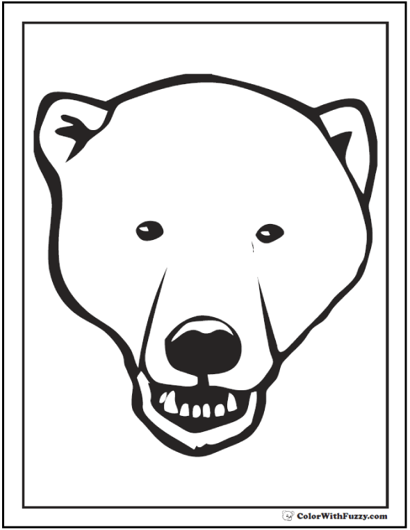 Polar Bear Face To Color. Growl! Polar bear coloring pages.