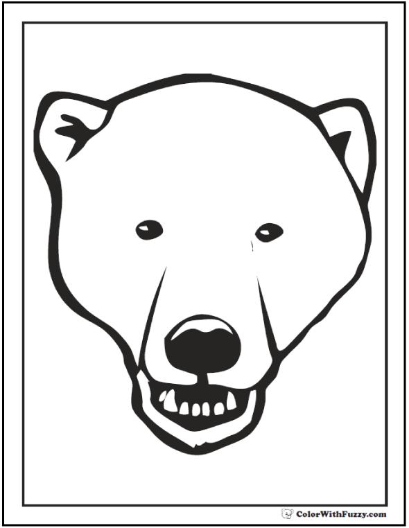 Polar Bear Face To Color. Growl! Polar bear coloring pages.