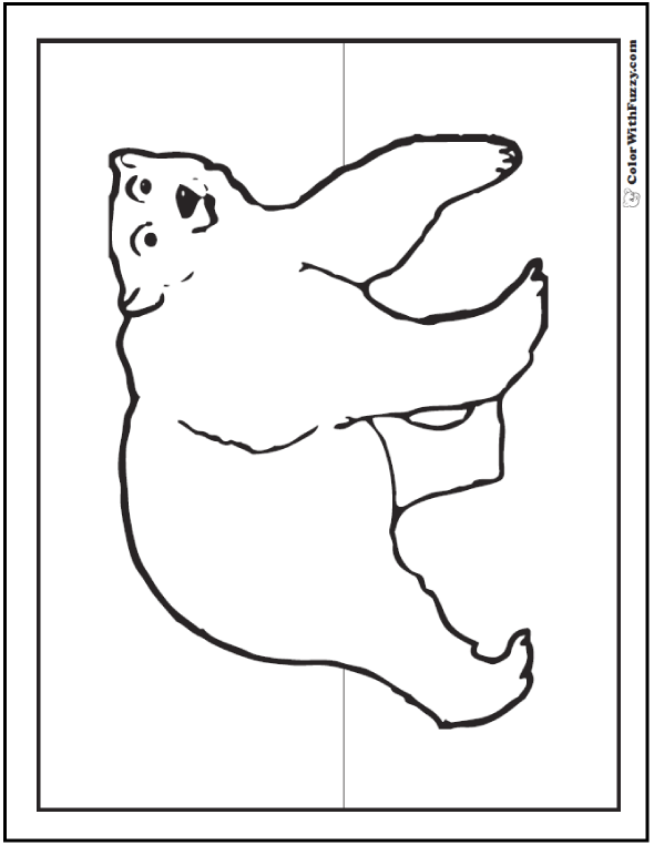 Polar Bear Printables For Kids - Huge bear looking right at you. Polar bear coloring pages.