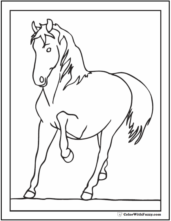Horse Trot Coloring Page: Prancing through the field.