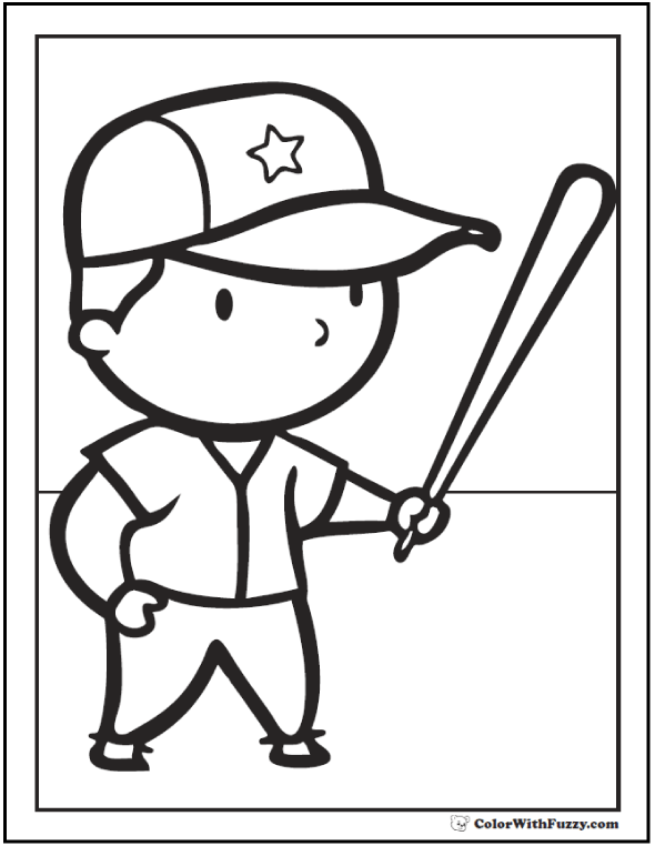 preschool baseball coloring pages