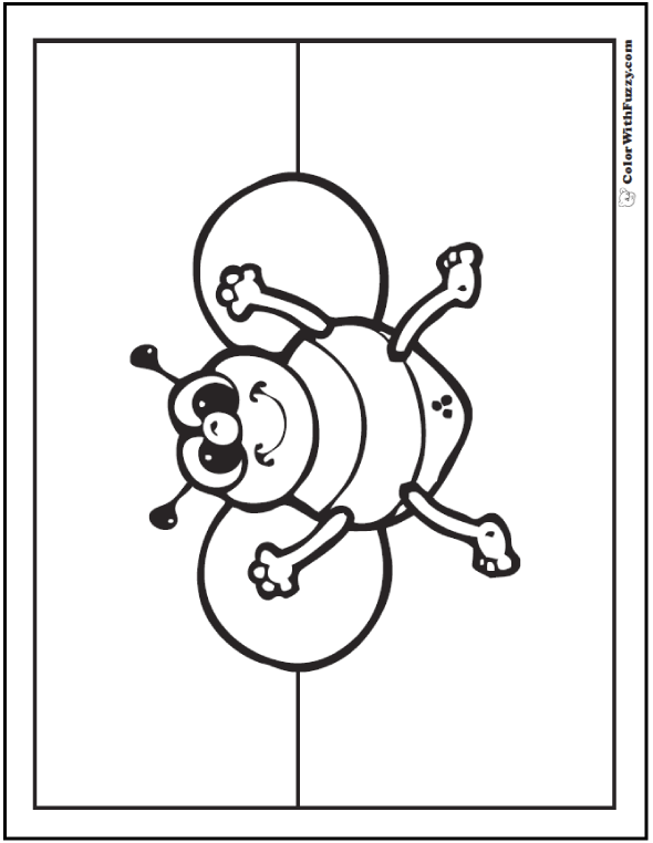 Preschool bee coloring page.