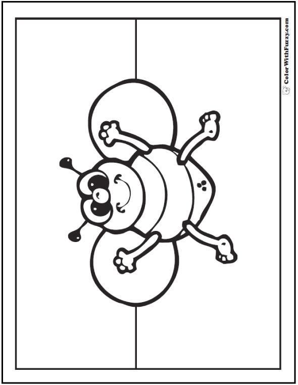 Preschool bee coloring page.