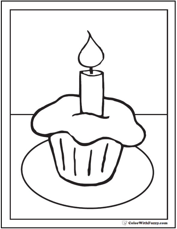 Simple Preschool Cupcake Coloring Picture