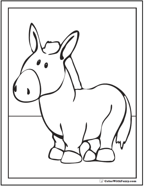 Farm donkey coloring pages.