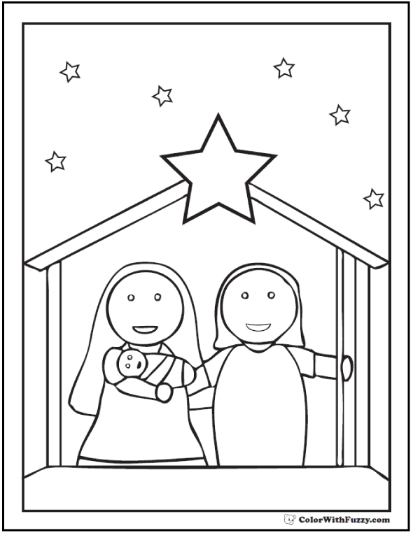 Preschool Nativity Scene Coloring Page With Star