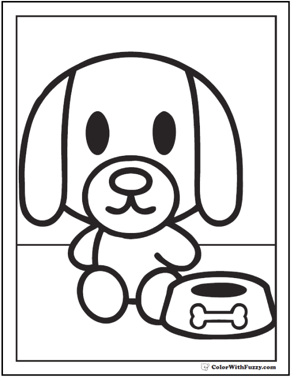 Preschool Puppy Coloring Page.