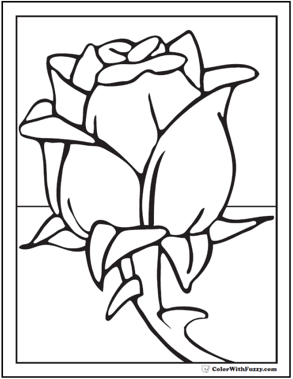 Preschool Rose Coloring Printable