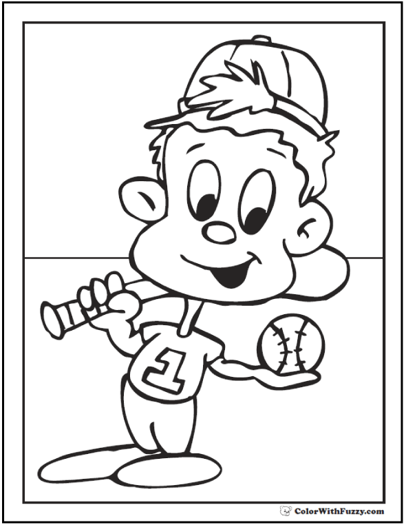 Little Slugger Printable Baseball Coloring Page