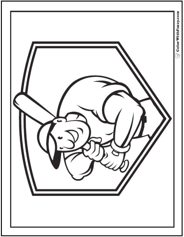 batters up printable baseball coloring - Color Printable Pages