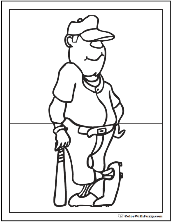 leaning on the bat printable baseball coloring
