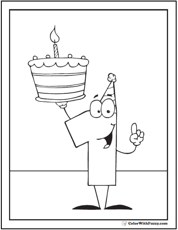 First Birthday Or Anniversary Printable Cake Coloring Sheet