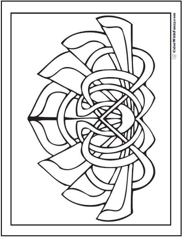 Printable Celtic Coloring Page: Calla lily or lotus flower.