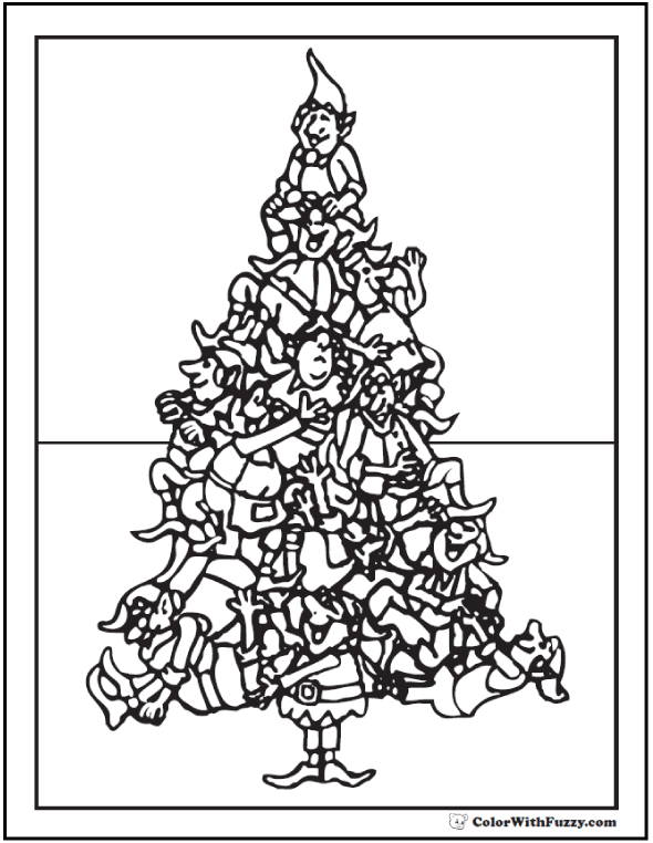 Printable Christmas Tree Coloring: Elves all around.