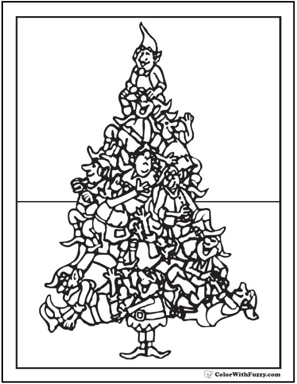 Printable Christmas Tree Coloring: Elves in Christmas tree shape.