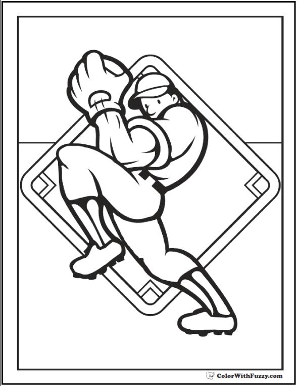 Pitcher Baseball Coloring Printable