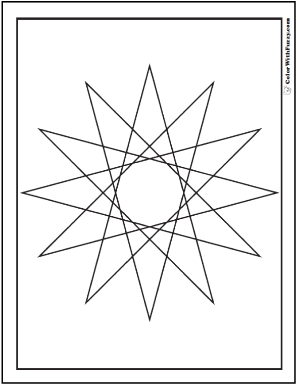 Printable Coloring Pages Geometric Designs 12 Point Star Sheet