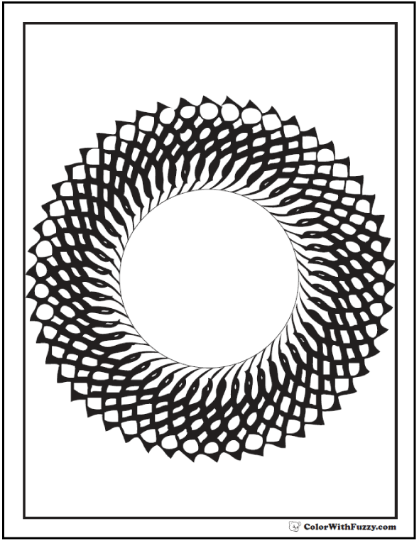 Printable Coloring Pages Geometric: Wreath or starburst.