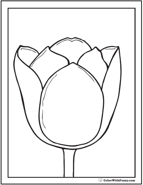 Printable Tulip Bloom To Color - Realistic
