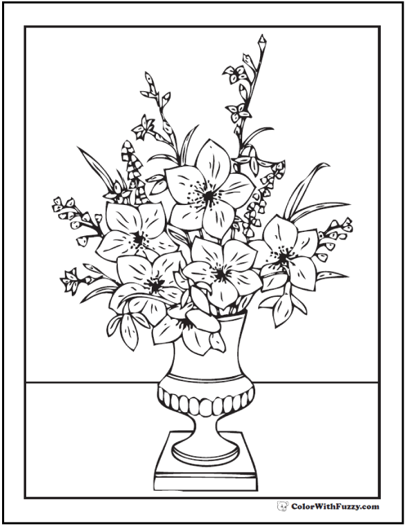 Printable Flower Bouquet Adult Coloring Page: Vase On Table