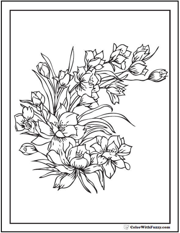 Printable Flowers Adult Coloring Pages: Spring Bouquet
