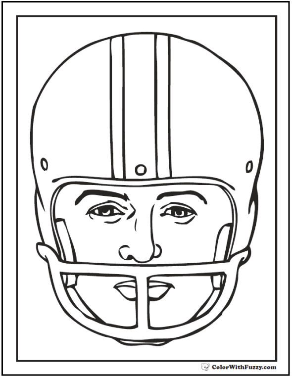 Printable Football Helmet Coloring Page With Player's Face Portrait