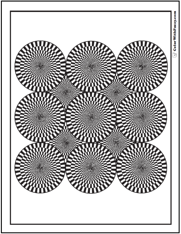 Printable Geometric Coloring Page: Wheels or cones?