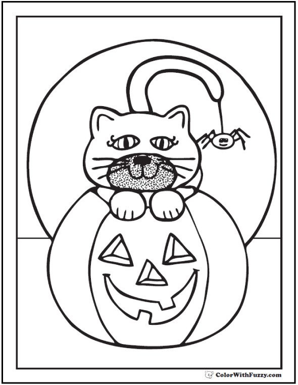 Moon, Cat, Pumpkin Halloween Coloring Pages
