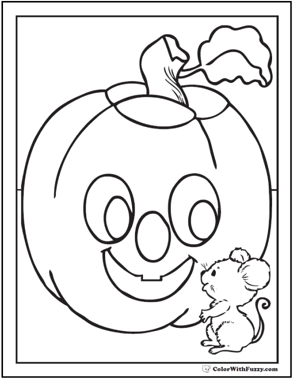 Mouse and Pumpkin Printable Halloween Coloring Sheet
