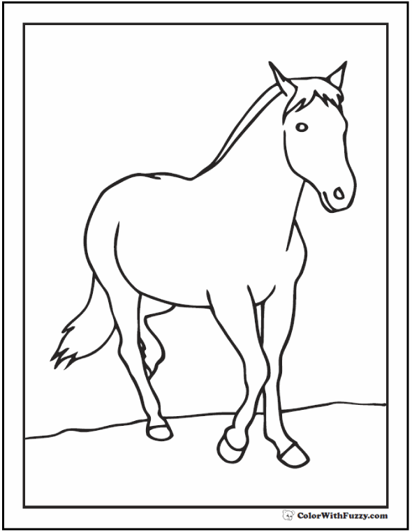 Printable Horse Coloring Page: Young mare, colt, or stallion.