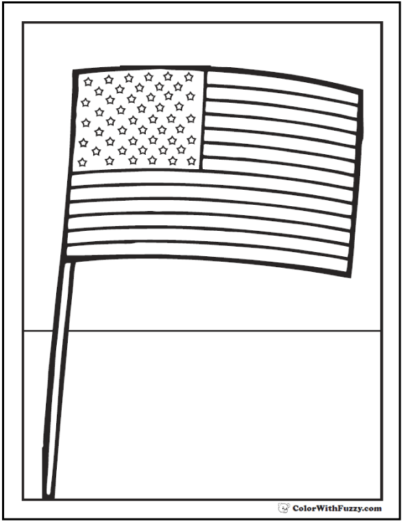 Fourth of July coloring page: Independence Day American flag.