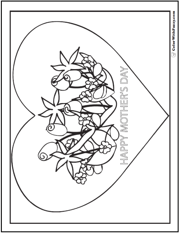 Printable Mother's Day Coloring Sheet with flowers and happy note on large heart.
