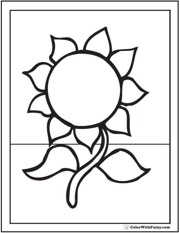 Printable Sunflower Coloring Page - Preschool love!