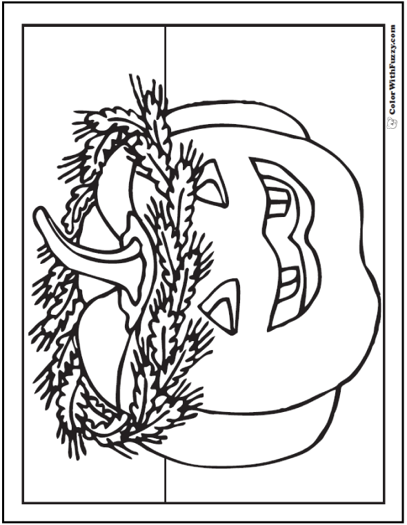 Wreath And Jack O'Lantern Pumpkin Coloring Pages