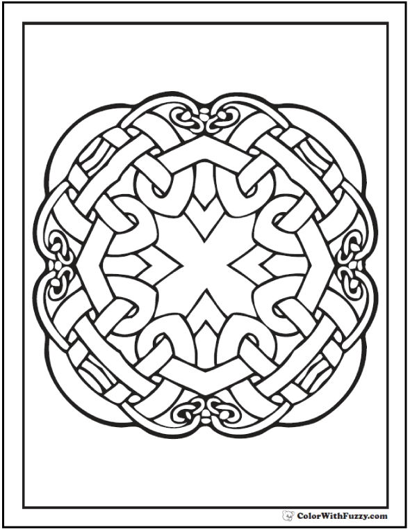 Quad Celtic Knot Designs on printable coloring pages from ColorWithFuzzy.com. #CelticKnotDesigns #CelticColoringPages
