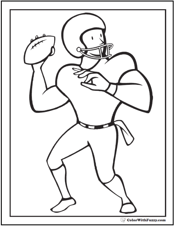 Quarterback Ready Football Coloring Picture