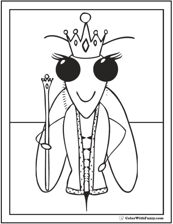 Queen bee coloring page.