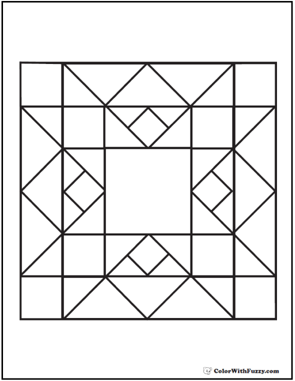 Quilt Pattern Coloring Page: Squares, diamonds, and triangles.