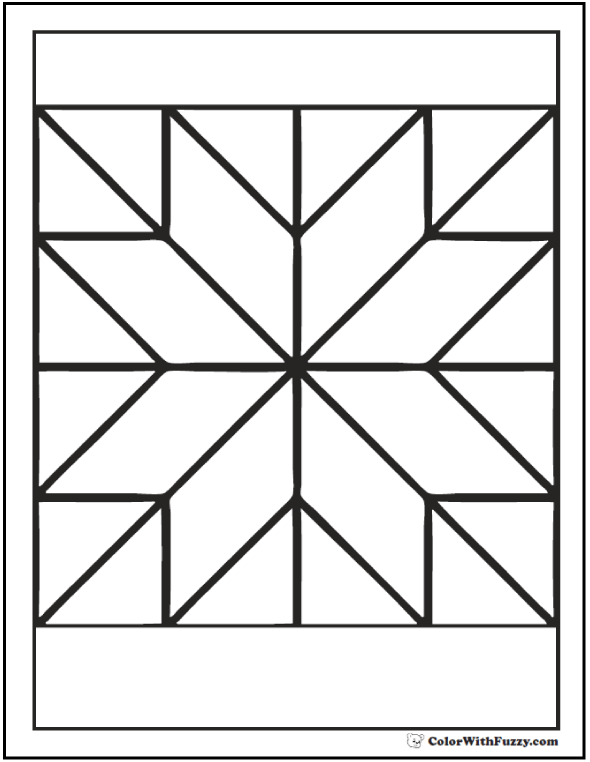 Star quilt pattern coloring pages
