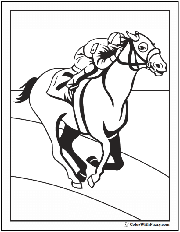 Race Horse Coloring Page: Jockey riding around the track.