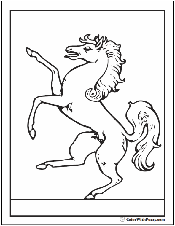 Rearing Horse Coloring Page: Rampant horse, long mane.
