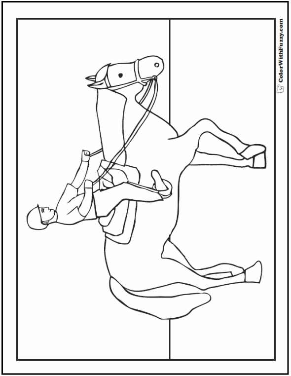 Riding Horse Printable For Kids To Color