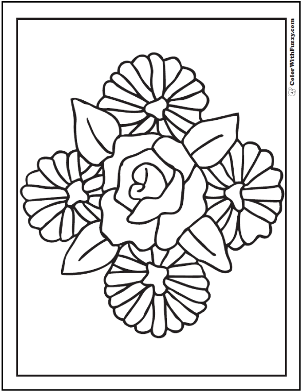 Rose And Daisies To Color - Asters, Leaves, and Roses.