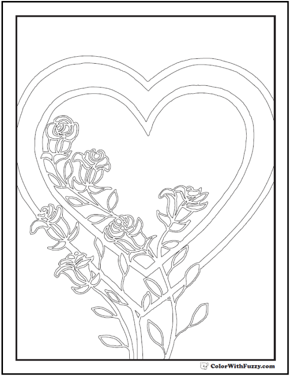 Roses And Hearts PDF To Color