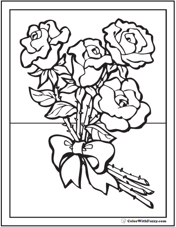 Silk Ribbon Rose Bouquet Coloring Picture