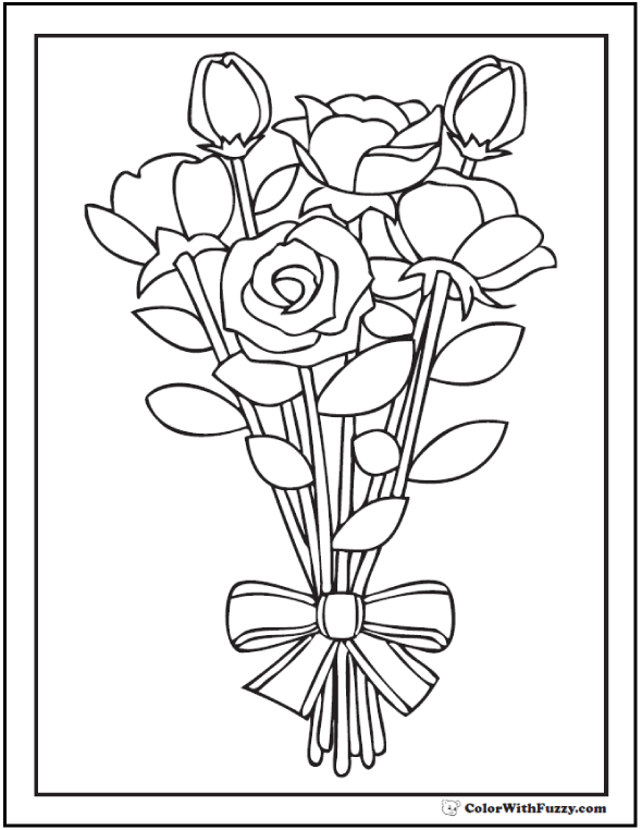 Striped Ribbon Rose Bouquet Coloring Printable