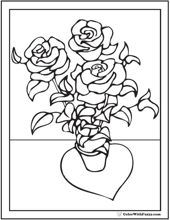 Potted Rose Bush Coloring