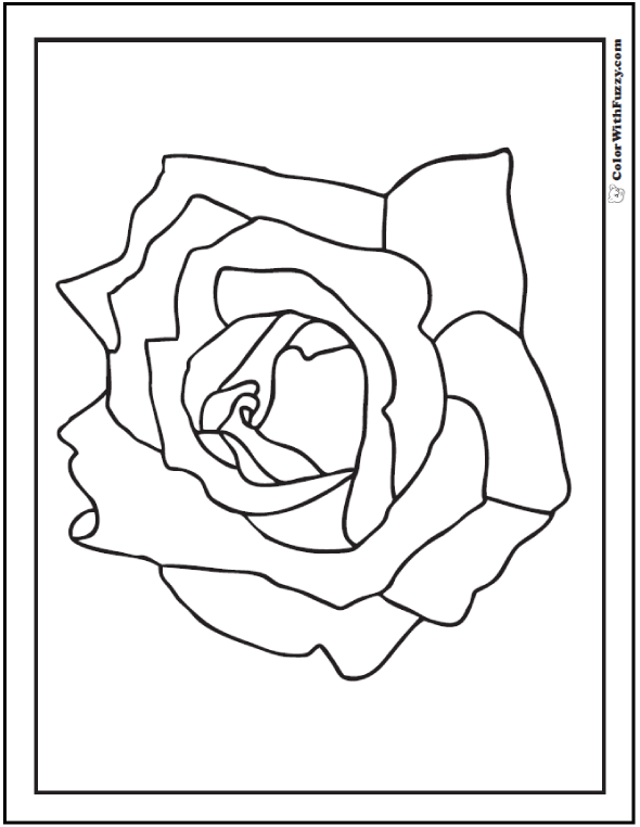 Simple rose coloring page: cut and color.
