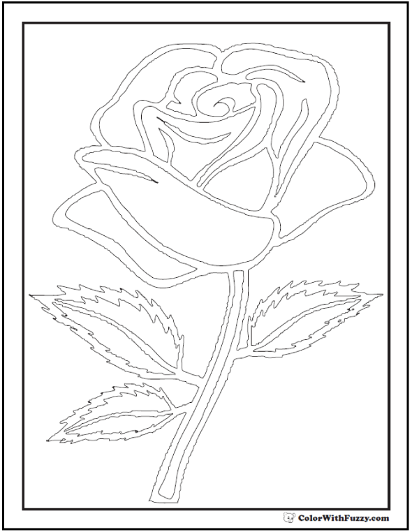 Rose Coloring Pages To Print - Long Stem Rose Outline