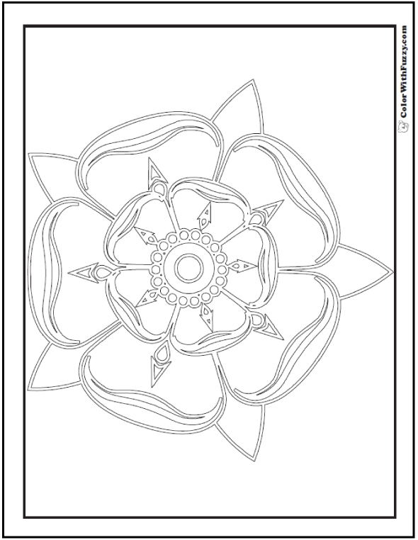 Small Center Rose Pattern Coloring Page